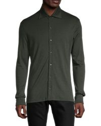 Isaia Cashmere-blend Button Down Shirt - Green