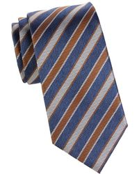 Brioni Striped Silk Tie - Blue