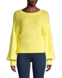 525 America Women's Flower Bobble Bishop-sleeve Sweater - Sunny - Size Xs - Yellow