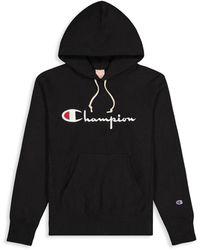 Champion Men's Logo Hoodie - Pretty Coral - Size Xs - Black