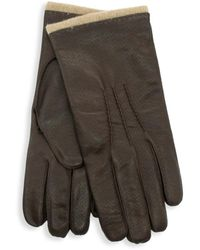 Portolano Wool-blend-lined Leather Gloves - Red