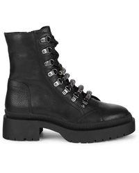 Steve Madden Swivel Leather Combat Boots - Black