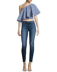Viva Aviva - Yakura Flouncy Gingham One Shoulder Cropped Top - Lyst