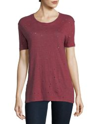 IRO - Clay Perforated Linen Tee - Lyst