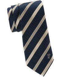 Versace Striped Silk Tie - Blue