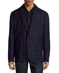 Saks Fifth Avenue Plaid Wool Sportcoat - Blue