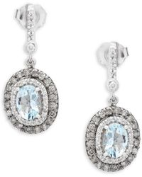 Effy - Diamond, Aquamarine And 14k White Gold Oval Drop Earrings - Lyst