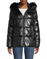 DKNY Cire Faux Fur-trim Puffer - Black