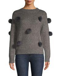 Cliche Faux Fur Pom-pom Heathered Sweater - Gray