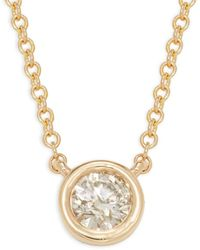 Saks Fifth Avenue Women's 14k Yellow Gold & Diamond Pendant Necklace - Metallic