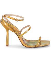 Schutz Women's Nita Heeled Sandals - Gold - Size 7.5 - Metallic