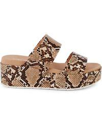 J/Slides Quincy Snake-print Leather Platform Sandals - Brown