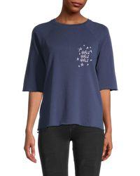 South Parade Raglan-sleeve Cotton Top - Blue
