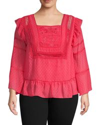 Nanette Lepore Women's Plus Embroidered Squareneck Top - Cameo Rose - Size 2x (18-20) - Pink