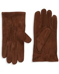 Portolano Textured Suede Gloves - Brown