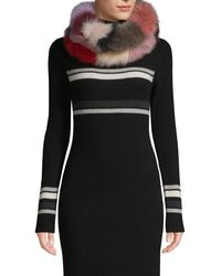 La Fiorentina Fox Fur Infinity Scarf - Black
