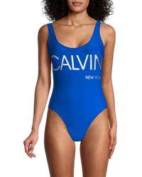 Calvin Klein Logo One-piece Swimsuit - Blue