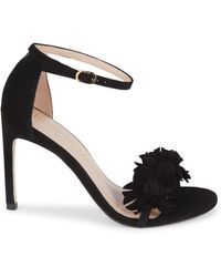 Stuart Weitzman Nudistsong Floral Suede Ankle-strap Sandals - Black