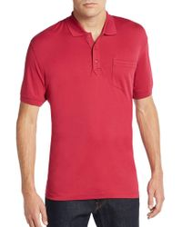 Saks Fifth Avenue Slim Ice Cotton Polo Shirt - Red
