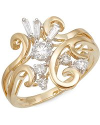 Effy - Diamond & 14k Yellow Gold Filigree Ring - Lyst