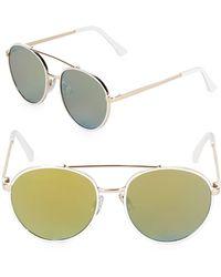 Fantaseyes - Mirrored 50mm Aviator Sunglasses - Lyst
