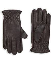 Portolano Cashmere-lined Leather Gloves - Brown