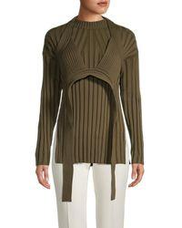Proenza Schouler Women's Bikini-layer Rib-knit Jumper - Dark Olive - Size Xs - Green