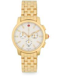 Michele Uptown Goldtone Diamond & Stainless Steel Chronograph Watch - Metallic