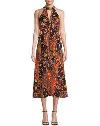 Ava & Aiden Floral Ruffle Halter Dress - Black