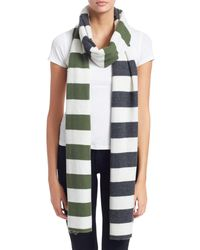 Charlotte Simone Multi-max Stripe Cashmere Scarf - Green
