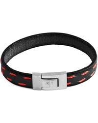 Tateossian Stainless Steel & Leather Bracelet - Black