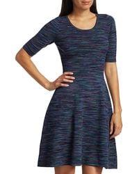 MILLY Spacedye Fit-&-flare Dress - Blue