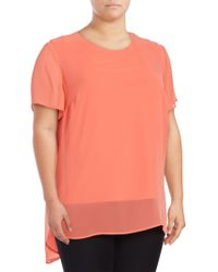 Chaus New York - Plus Chiffon-overlay Blouse - Lyst