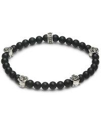 King Baby Studio Men's Onyx Bead Roses Bracelet - Black