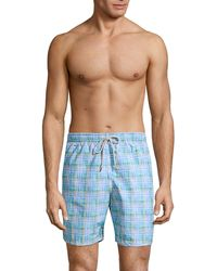 Saks Fifth Avenue Collection Plaid Swim Trunks - Blue