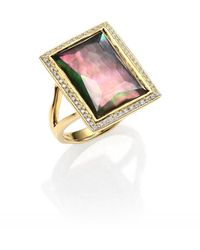 Ippolita - Gelato Black Shell, Clear Quartz, Diamond & 18k Yellow Gold Medium Baguette Doublet Ring - Lyst