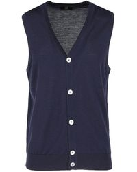Dunhill Merino Wool Sweater Vest - Blue