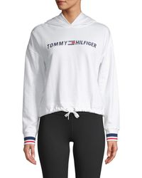 Tommy Hilfiger Women's Cropped Logo Hoodie - Heathergrey - Size Xl - White