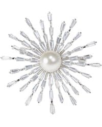 CZ by Kenneth Jay Lane Faux Pearl & Cubic Zirconia Starburst Brooch - White