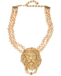 Heidi Daus Goldtone & Crystal Rhinestone Lion Door-knocker Necklace - Metallic