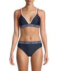 Tommy Hilfiger Women's Double-strap Triangle Logo Bikini Top - Navy - Size L - Blue
