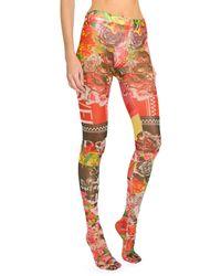 Versace Floral Print Tights - Multicolour