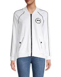 Karl Lagerfeld Women's Logo Raglan-sleeve Track Jacket - Soft White - Size Xs