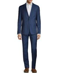 Strellson Slim-fit Aven Mercer Flat-front Wool Suit - Blue