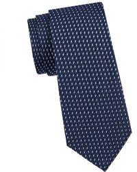 Armani Men's Printed Silk Tie - Solid Dark - Blue