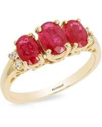 Effy Diamond, Ruby And 14k Yellow Gold Ring - Metallic