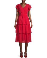 Julia Jordan Textured Flutter-sleeve Tiered Dress