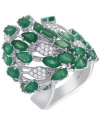 Hueb Women's 18k White Gold, Emerald & Diamond Gala Ring/size 7 - Size 7 - Green