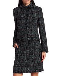 Akris Punto - Fringe-trim Tweed Jacket - Black Multi - Size 8 - Lyst