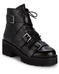Ash Razor Multi-buckle Leather Combat Boots - Black